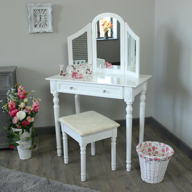 White Bedroom Dressing Table Triple Mirror Amp Stool Set