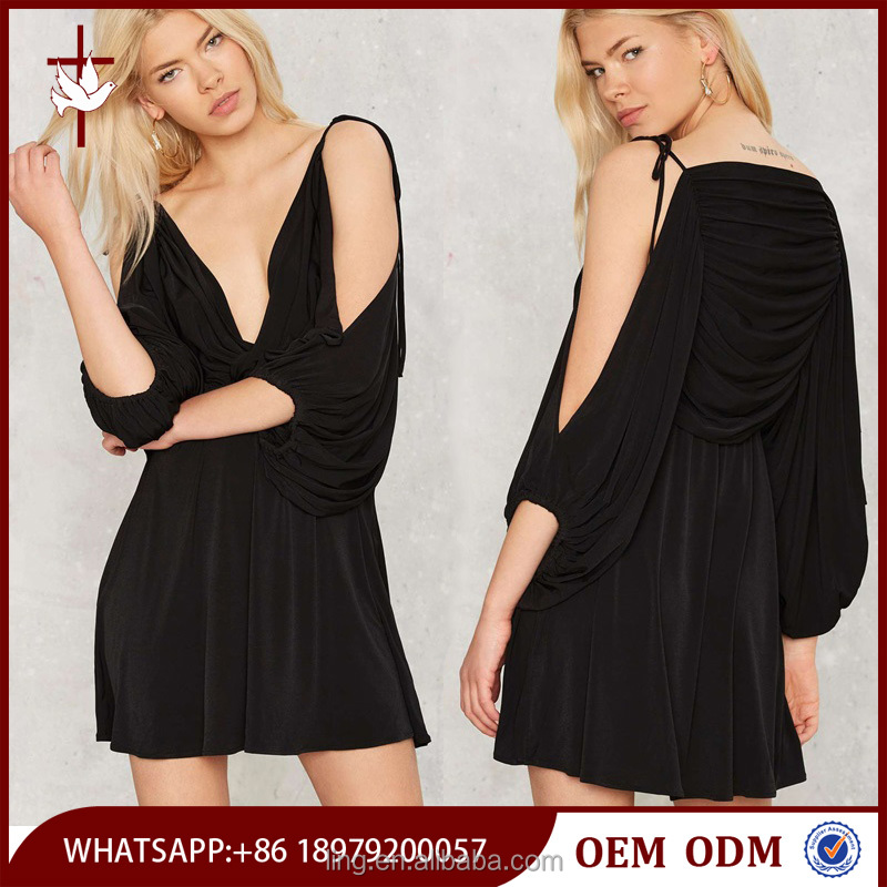 Black Plain Knock Out Cold Shoulder Dress with Draped Sleeves
