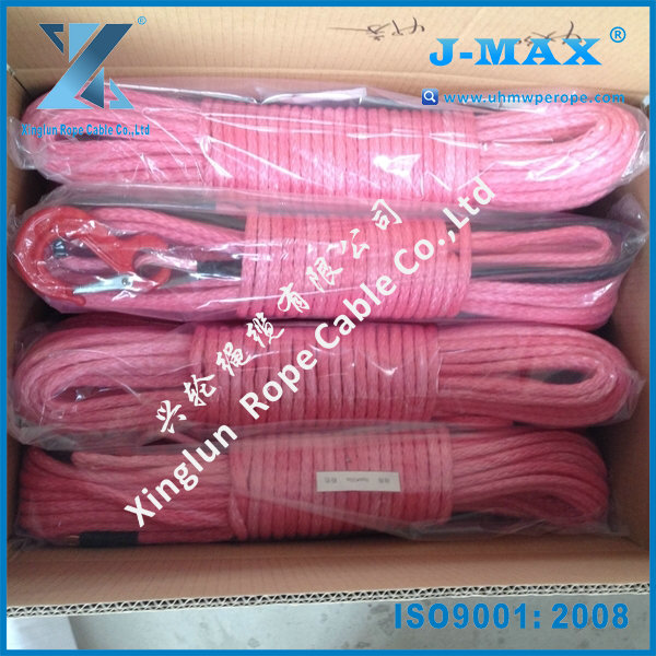 12 strand 8mm*25m synthetic winch ropes with hook packed in full set for off-road car