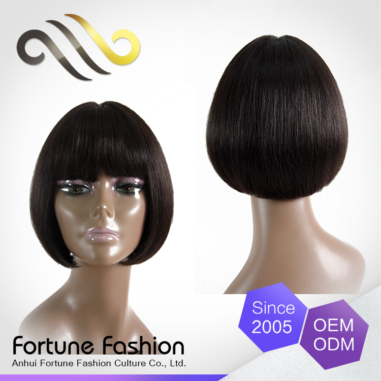 Exquisite Young Bob Cut Malaysian Human Hair Full Bang Silky Straight Short Wig