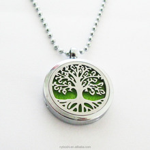 Popular tree of life XX07 chrome 30mm Perfume Aromatherapy Locket Necklace Stainless Steel Essential Oil Diffuser Locket Pendant