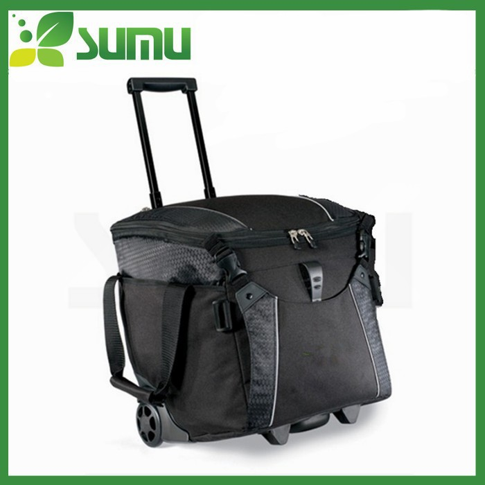 High quality cooler bag with wheels/folding cooler bag with stand