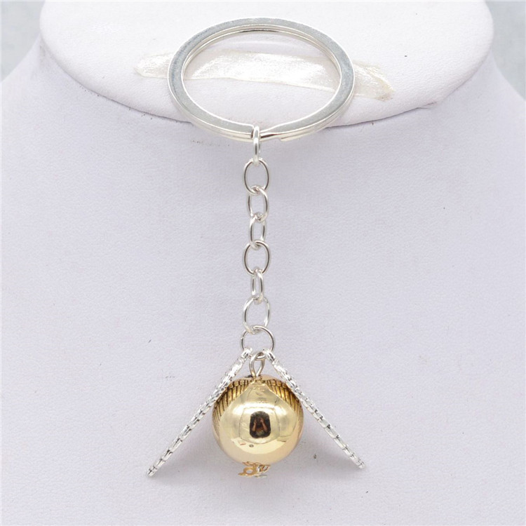 Hot Fahsion gold Color round ball pendant silver angle wing tail chain elegant gift Keychain for women and men