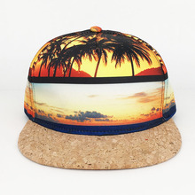 Custom fashion sublimation print <strong>flat</strong> wood brim 5 panel snapback hat