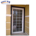 Plastic steel profile wooden color PVC door with toughened glass