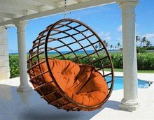 Doreen Europe Standard Hot Sell Outdoor Wicker Hanging Egg Chair rattan round Swing Lounge Chair