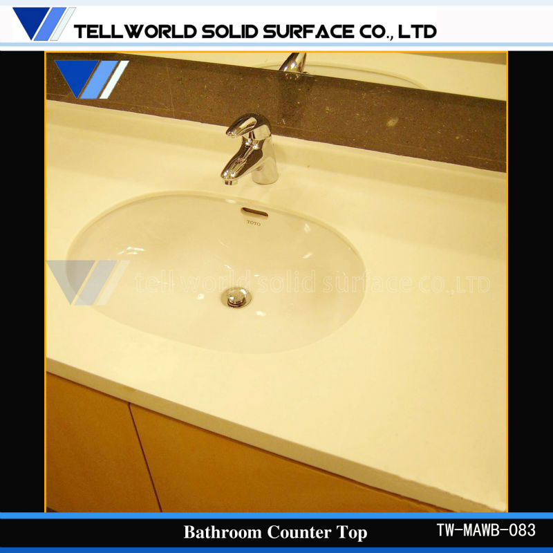 Acrylic Solid Surface Bathroom Vanity Counter Top High Gloss Molded Sink Countertop