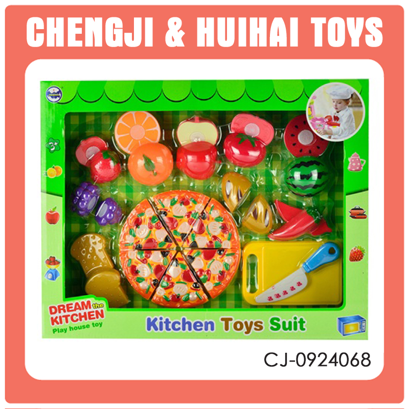 Plastic Kitchen Toys kids cutting fruits play pizza game