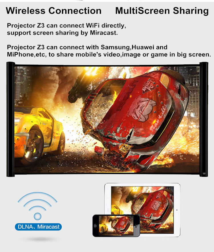 New Arrival! Mini Projector / Smart 3D Projector / WiFi Projector Z3
