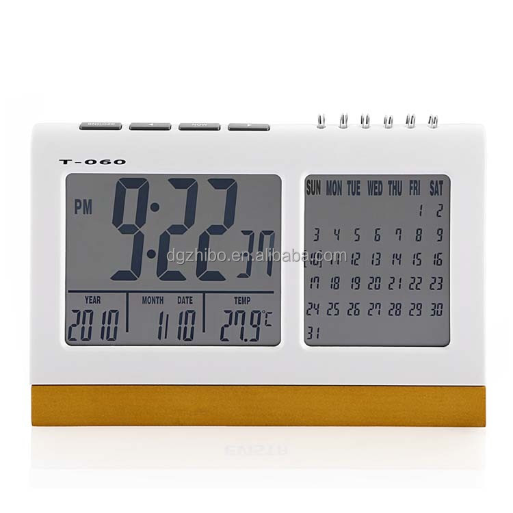 T-060 Digital Desk flip Clock with Calendar Muslim Azan Clock Sunrise Alarm Clock for Both Office and Home