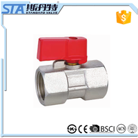 ART.1073 1/2 3/4 inch f/f thread connection manual cheap small mini for water air oil and gas brass ball valve of nickel plating