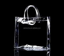 Top quality custom logo printing zip lock pvc transparent tote clear shopping bags with handles