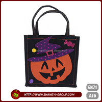 Halloween pumpkin pattern china products fabric gift bags wholesale