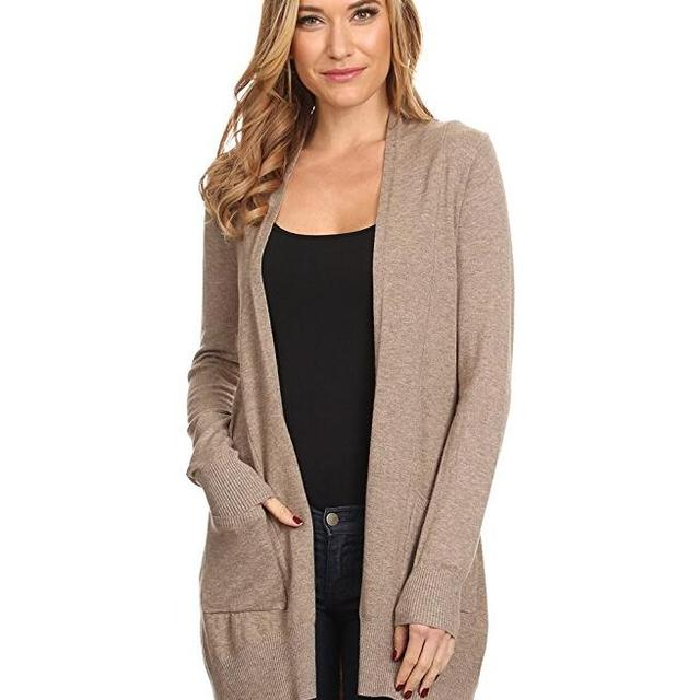 Womens Basic Open Front Knit Cardigan Sweater