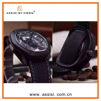 Assisi brand fashion stainless steel chain black color wrist watch wholesale excel wrist watch price