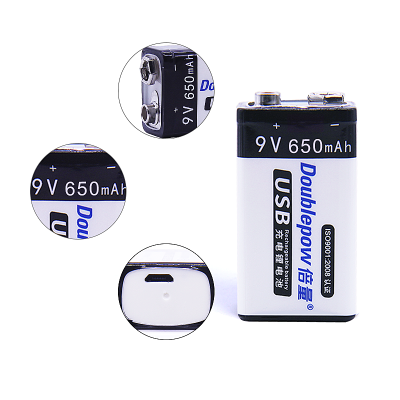 Full high capacity USB 9V 650mAh lithium ion rechargeable battery