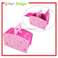 Princess Pink wooden toy box cute toy organizer with handle