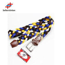 No.1 yiwu commission agent Fashion Women Waist Braided Webbing fabric Belt with Pin Buckle