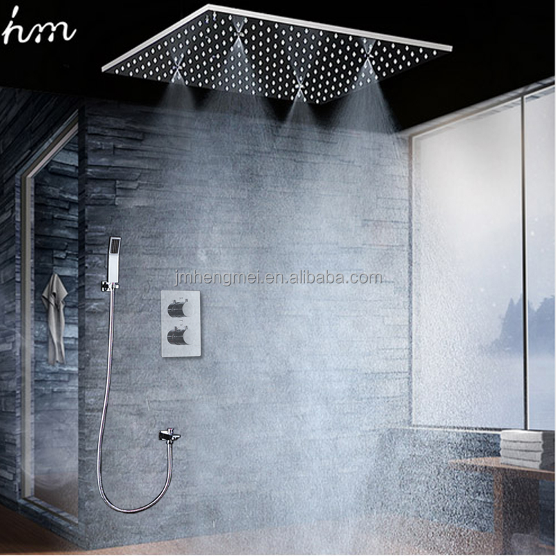 Thermostatic Rainfall Shower Set 20 Inch Square Shower Panel Ceiling Mist Spa Showerheads Rain Douche Faucets Set 304 SUS Mirror