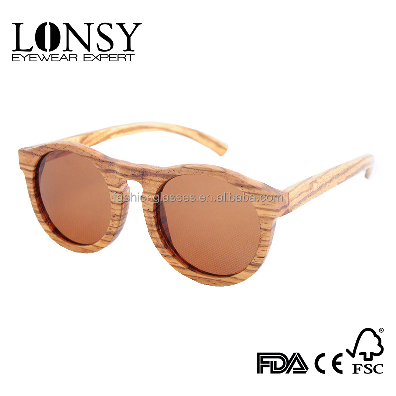 polarized fashion men&women zebra wood sunglasses with metal spring hinge, China manufacturer UV400 cheap TAC shades(LS3002-C4)