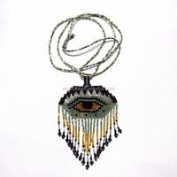 N0002 Evil Eye glass seed beaded boho fringe necklace. boho pendant necklace