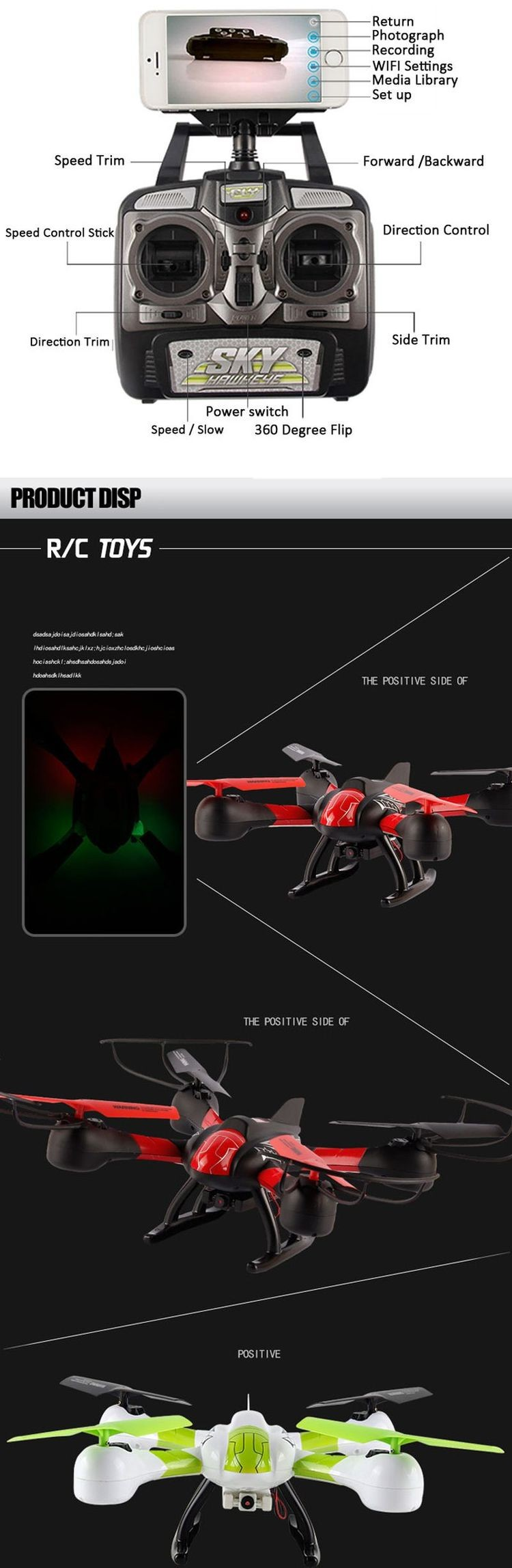 1491315W Transmission Headless Mode RC Quadcopter 2.4G 4 Channel Drone with HD Camera