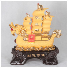 24k golden color painting dragon sailing boat ,Fengshui Boat