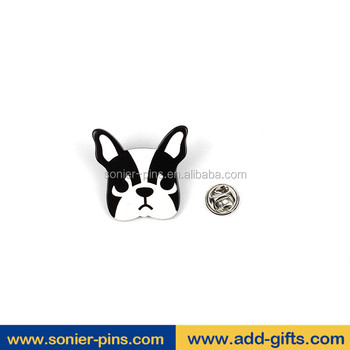 Promotion dog head shape printing enamel in China and free design and Fast delivery lapel pins