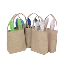 Cute Easter Day Jute Bunny Ear Eco-friendly Wholesale Shopping Grocery Tote Bag