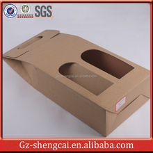 Corrugated paper wine bottle packaging boxes with handles window
