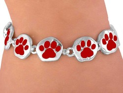 Lead, Nickel & Cadmium Free Adorable New Bright Red Paws On A High-Polished Silvertone Bracelet With Hidden Magnetic Clasp