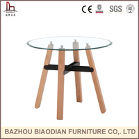 home dining room banquet cafe restaurant tea glass table with wooden legs and metal rods