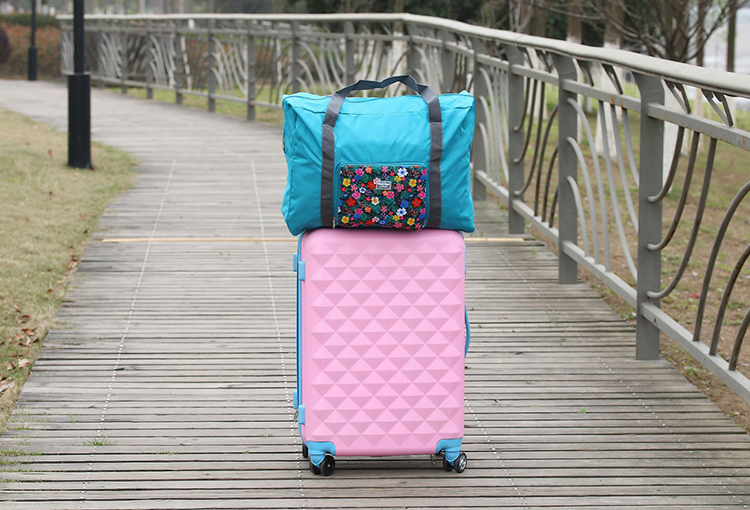 Foldable Floral Travel Duffel Bag Waterproof Storage Sports Gym Clothes Suitcase Organiser Can Attach On The Handle Of Luggage