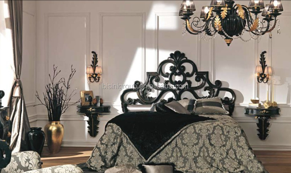 fabulous luxe classique design franais style baroque sculpt noir couronne en bois lit bfb buy. Black Bedroom Furniture Sets. Home Design Ideas
