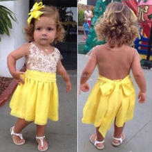 L1743A New Model Girl Dress Baby Girl Splicing Yellow Casual Dress Fashion Kids Summer Lace Dress