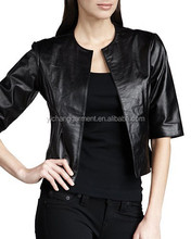 Half Sleeves Leather Bolero Jacket For Women