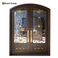 Luxurious wrought iron door with insulate glass for house