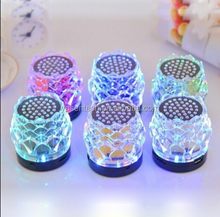 Lotus mini bluetooth speaker gift Portable stereo Speaker Colorful flashing Crystal Dancing speaker with led