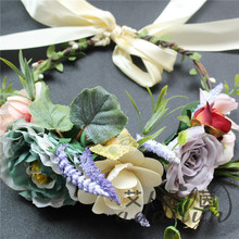 Christmas wooden fake flowers artificial leaves garland green