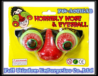 Plastic funny novelty party bloody eyes ball toy glasses with nose