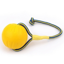 <strong>Pet</strong> Chew Toy Elastic Ball Molar Bite Resistant Tooth Toy Dog Training Ball Toys With Rope Handle, Large, Diameter: 9cm