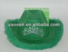 Green felt party cowboy hat with tiara for st patrick day