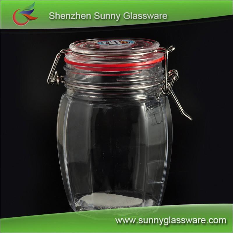 Rib Glass Mason Jar With Airtight Glass Lid