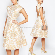 OEM Service Latest Design High Collar Backless Fashion Women Skater Dress in Baroque Print