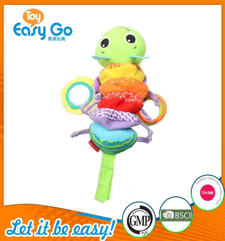 Colorful baby soft pull toy with mirror and crinkle
