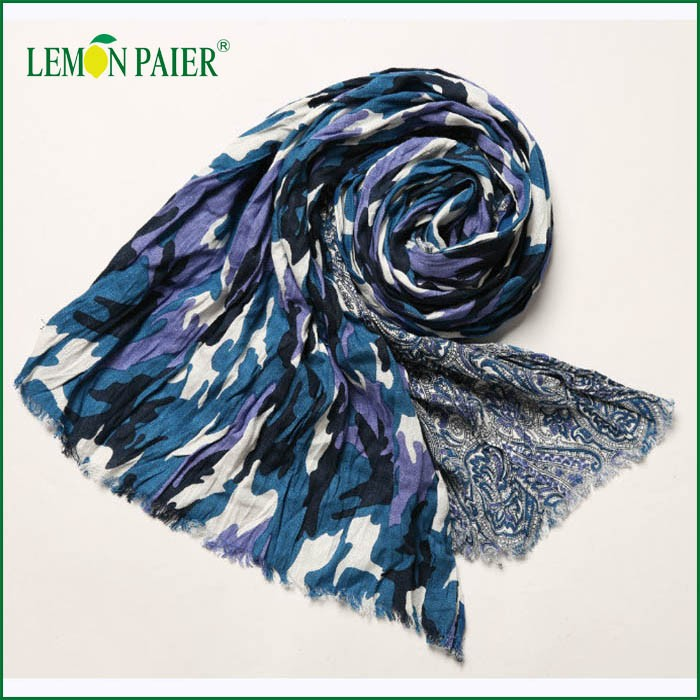 2016 Trending Wholesale Products Oversize Custom Print Cotton and Hemp Scarf