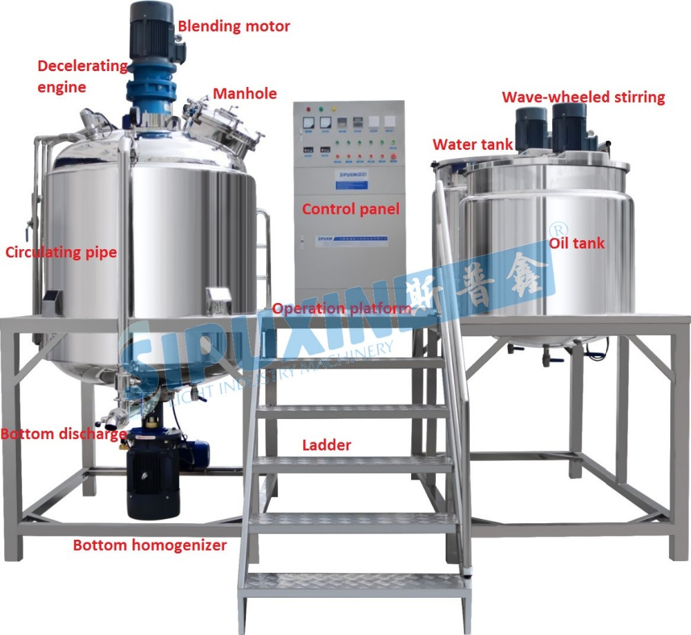 Sipuxin High end Stainless steel Double jacket heating vacuum homogenizer mixer