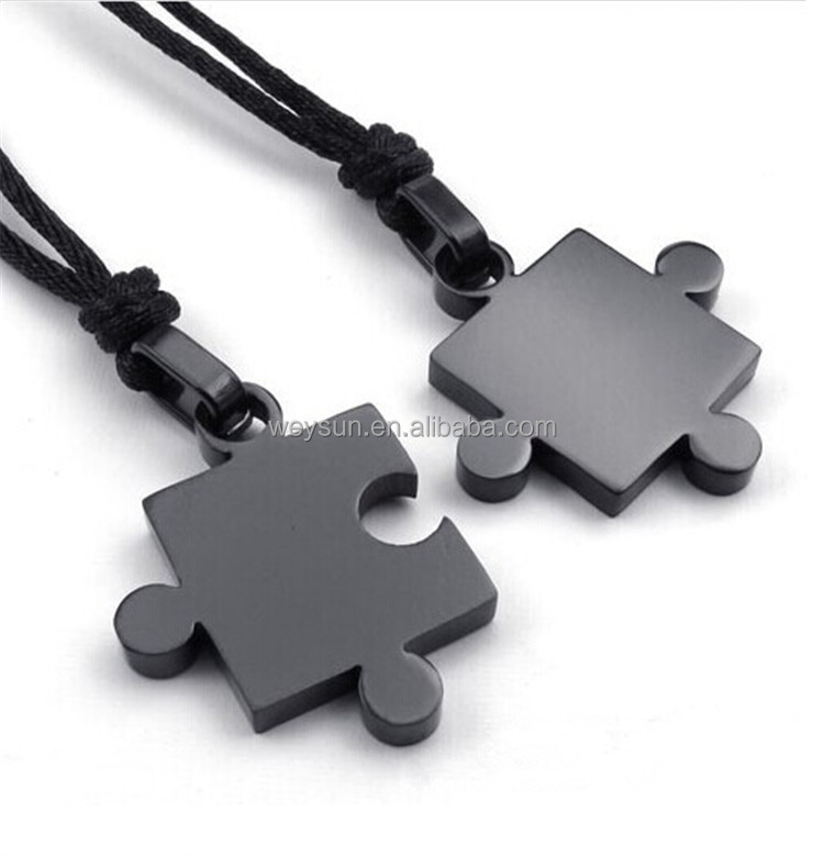 Mens Womens Classical Couples Stainless Steel Puzzle Pendant Lover <strong>Necklaces</strong> for Valentine Gifts