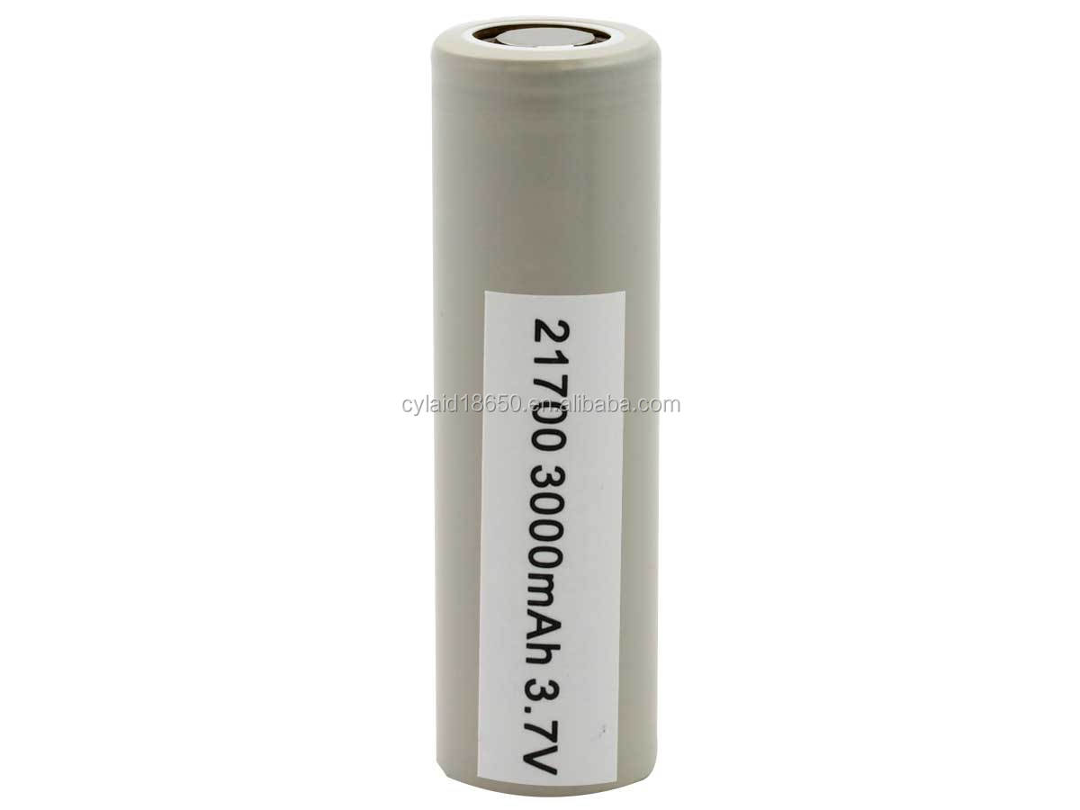 New arrival 30T INR 21700 3000mAh 3.6V Unprotected High-Drain 35A Lithium Ion (Li-ion) Flat Top Battery
