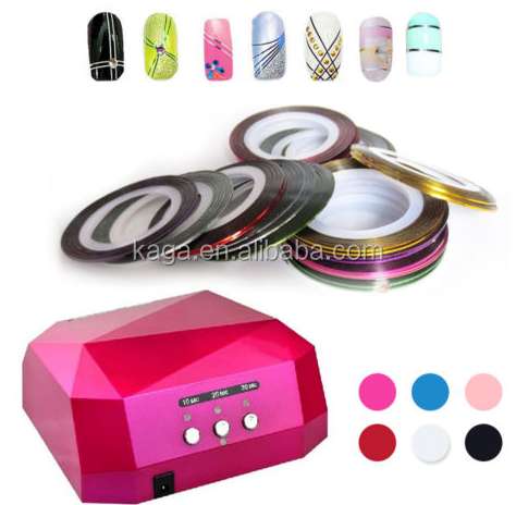 36W CCFL+LED UV Nail Gel Lamp Dryer & 4pcs gel polish + top & base Diamond Shape Curing Nail Dryer nail tools